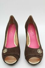 Lilly Pulitzer Brown Suede Peep Toe Wedge Size 7.5