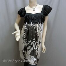 Duo Satin Applique Artistic Print Frock Tunic Dress Black Beige XS