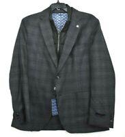 Ted Baker Mens Gray Plaid Trim Fit Plaid Wool Hybrid Sport Coat Mens 44R $750