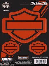 Harley Davidson Motorcycles Classic Logo Orange Reflective Sticker Decal
