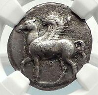 CORINTH Authentic Ancient 400BC Silver Greek Coin ATHENA PEGASUS NGC i76858