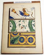 Antique French Ornamental Design Print Color Lithograph Art Nouveau CARREAUX