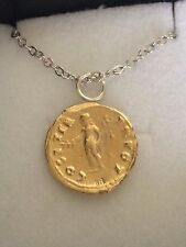 "Aureus Of Vespasian Coin WC16 Gold Made In Pewter On 16"" Silver Plated Necklace"