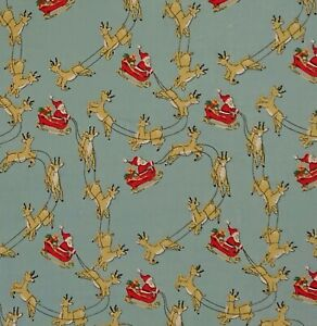 Santa Sleigh- Blue Christmas Craft Bunting Patchwork Polycotton Fabric