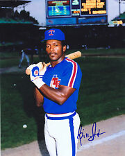 BILLY SAMPLE  TEXAS RANGERS   ACTION SIGNED 8x10