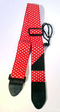 Electric, Acoustic, Bass Guitar Strap Red + Star Design PU Leather Strips UK