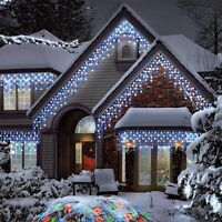 CHRISTMAS LED SNOWING ICICLE LIGHTS BRIGHT NET CALSSIC XMAS TREE INDOOR OUTDOOR