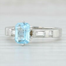 1.66ctw Blue Topaz Diamond Ring Platinum Emerald Cut Solitaire Engagement