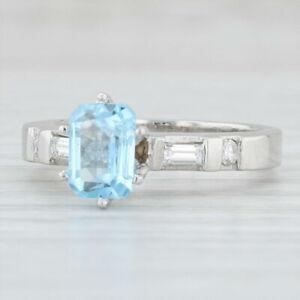 1.66ctw Blue Topaz Diamond Ring Platinum Emerald Cut Solitaire Engagement
