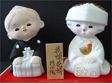 "Japanese 4""H Bride and Groom Wedding Clay Dolls Gift Set/ Made in Japan"