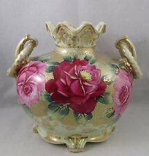 Antique Nippon floral vase with handles hand painted gold beaded roses