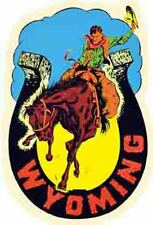 Wyoming    WY  Cowboy Horseshoe   Vintage-Looking Travel Decal/Label/Sticker
