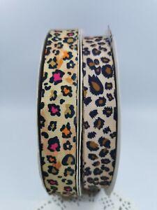 25mm Leopard Print Grosgrain Ribbon 2 colours Craft Hair Clip