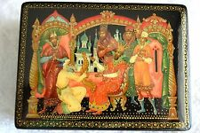 "RUSSIAN BLACK LACQUER BOX ""THE TSAR and THE GOLDEN COCKERAL"" PALEKH VILLAGE"