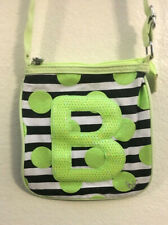 Justice Girls Neon Lime Green Sequin Dot Initial B Letter Crossbody Purse Bag