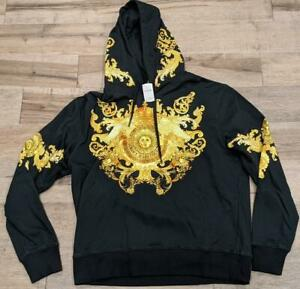 """$575 Mens Versace Jeans Couture """"Versailles Graphic Hoodie Black/Gold XL"""