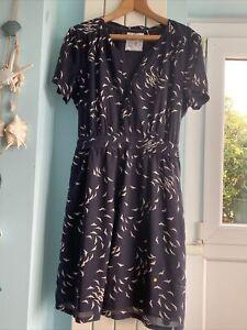 Fat Face Navy Cotton Blend Short Summer Dress Size 18 Casual Beach Fab!