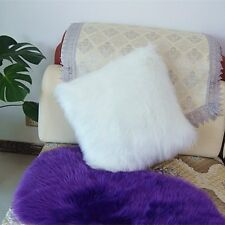 "1pcs Square White Single Sided Faux Fur Pillowcase Cushion 16x16"" fabric back US"