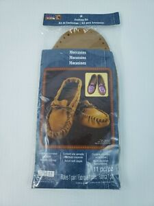 ArtMinds Leather Crafting Kit Unisex Moccasins 11 Piece One Pair size 8-9 Med