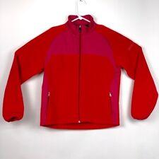 BMW Motorrad Womens Fleece Jacket Red Pink Color Block Zip Pockets Mock Neck XL