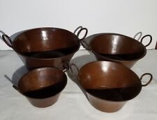 Antique French Copper 4 Nesting Jam Or Preserve Pots Hand Wrought Patina Aged