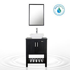 "24"" Bathroom Vanity Black Mirror Square Ceramic Vessel Sink Faucet Combo Drain"
