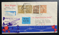 1937 Macau First Flight Airmail Cover FFC to San Francisco CA USA Trans Pacific