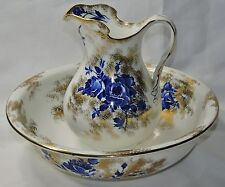 ROYAL DOULTON GLOIRE-DE DIJON FLOW BLUE PITCHER & BOWL * *