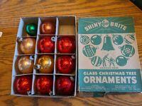 SHINY BRITE ANTIQUE XMAS TREE ORNAMENTS BOX DOZEN/11 MERCURY GLASS ADVERTISING