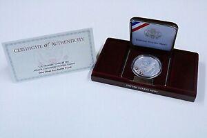 1996 Atlanta Olympics Tennis Proof Silver Dollar - W/ Box and COA