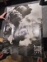 "Ancienne Affiche d'une Photographie d'Ernö Vadas ""Gare 1934"" Locomotive Train"