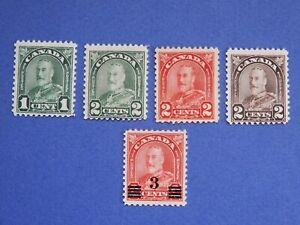"#163-166, 191 MNH George V ""Arch/Leaf"" & ""Admiral"" Provisional issue   CV=$24.00"