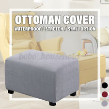 Removable Ottoman Cover Stretch Waterproof Polyester Footstool Slipcover Decor