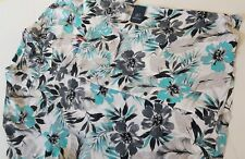 George Floral Blue Watercolor Men's Short Sleeve Shirt 2xl 100 Rayon