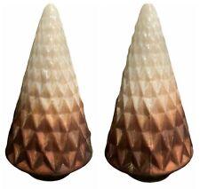 Ceramic Christmas Tree Geometric Cone Diamond Textured Ombre Brown Mid Century
