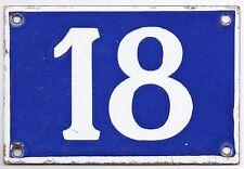 Old blue French house number 18 door gate plate plaque enamel metal sign superb