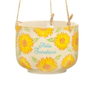 Indoor Hanging Plant Pot Ceramic Sunflower Planter Houseplant Home Decor Gift