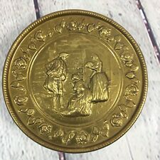 "Vintage Brass Wall Pocket Planter Raised Designs Round Made in England - 5.5"""