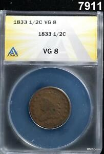 1833 HALF CENT ANACS CERTIFIED VG8 NICE! MINTAGE 103,000! #7911