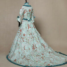 Women Lady Medieval Lolita Dress Costume Flare Sleeve Square Neck Ball Gown Slim