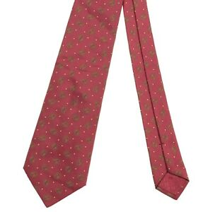Hermes Woven Collection Burgundy Maroon Ribbed Twill Gold Geometric Silk Tie