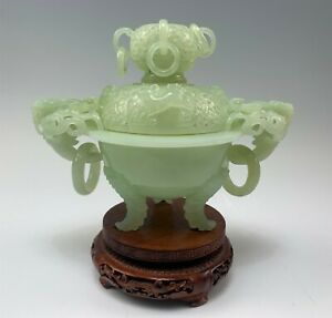 Intricate Chinese Celedon Green Censer Pot on Carved Wood Stand Dragon Handles