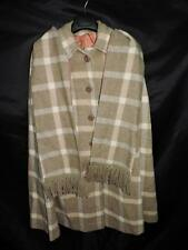 Vintage 70s Brown Plaid Wool Cape Long Lined Coat Button Front With Scarf Boho