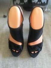 MIMCO BLACK EVENING LEATHER SANDALS / SIZE 3 / WORN TWICE GOOD CONDITION