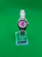 childrens avon pink ballerina silver tone watch,ink dial & strap,pink hands.b3.