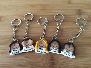 Personalised Keyring Teachers Gift For Teacher Handmade From Clay Key Chain Gift