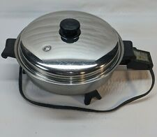 "Saladmaster #7817 oil core 11"" stainless steel electric skillet & lid clean"