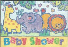 Amscan Baby Jungle Shower Invitations Giraffe Elephant Lion 8 in Pack New