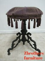 Antique Victorian Revolving Vanity Bench Piano Stool Cast Iron Pierce Carved