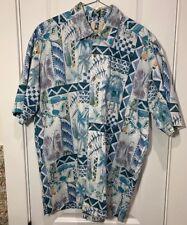 Kahala Mens L Short Sleeve Button-Front Cotton Multicolor Hawaiian Shirt